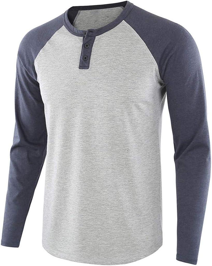 MODOQO Men's Long Sleeve Henley Shirt, Button Down Shirt, Casual Long Sleeve Crewneck Shirt