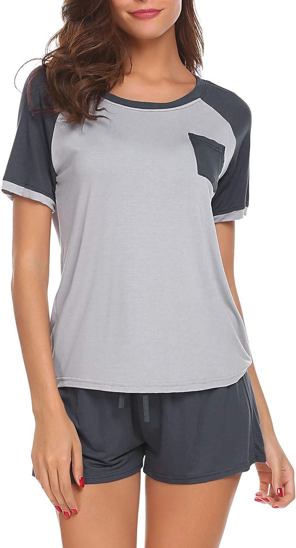Ekouaer Women's Pajamas Set Short Sleeve Sleepwear Soft Pjs Sets Tops and Shorts Lounge Set S-XXL