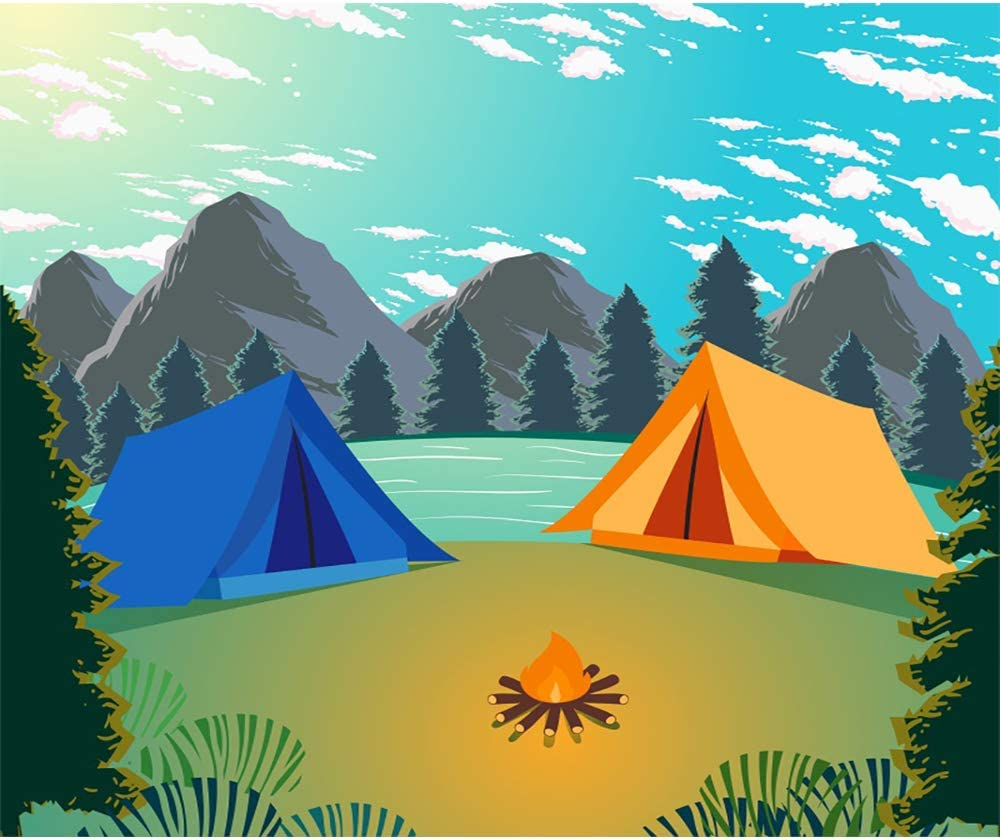 Laeacco Summer Island Camp Backdrop 6.5x6.5ft Outdoors Photography Background Mountains and Waters Camping Travel Trees Cartoon Backdrops Children Boy Adult Photo Baby Shower Backdrop Birthday Decor