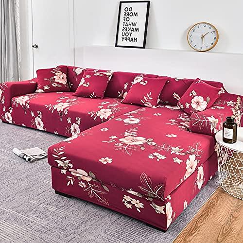 WXQY Fundas Estampadas elásticas Antideslizantes para sofá Funda de sofá para Mascotas Esquina en Forma de L Funda de sofá Antideslizante A6 4 plazas