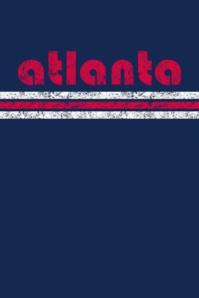 ウィザード通りシアーAtlanta: Georgia Notebook Journal Planner Retro Vintage Weathered 90 Pages Blue Red
