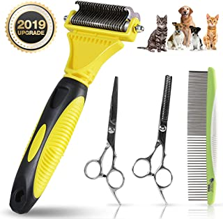 ZIONOR Pet Grooming Tools Contain Dog Grooming Scissors, Meatl Dog Combs, Undercoat Rake for Dogs Cats Pets, Comfortable and Durable Pet Hair Remover for Pet Knot, Tangle, Mat
