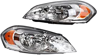 2PC Driver & Passenger Headlights Headlamps Set Replacement fit for Chevrolet 2006 2007 2008 2009 2010 2011 2012 2013 Impala & 2014-2016 Impala Limited & 2006-2007 Monte Carlo
