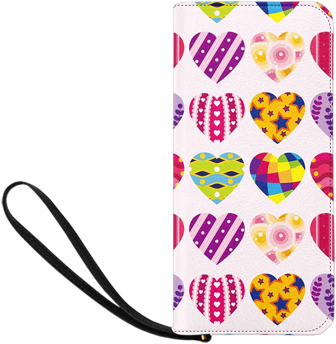 INTERESTPRINT Colorful Love Heart Clutch Wallet Handbag for Party Wedding