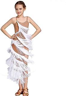 Q-JIU Niños Baile Latino Vestidos Mujer Rendimiento Licra Cristales/Rhinestones Borla Sin Mangas Cintura Media Vestido