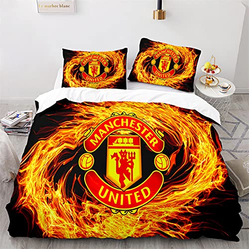 WSFST Manchester United FC Funda Nordica Cama 90 Microfibra Juego De Cama 150x220cm con 1 Funda De Almohada 50x80cm, Man Utd Funda De Edredón con Cremallera