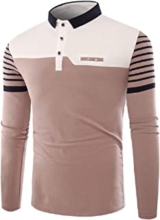 EnergyWD Men's Lapel Casual Polo Striped Colorblock Long Sleeve T Shirt Tunic