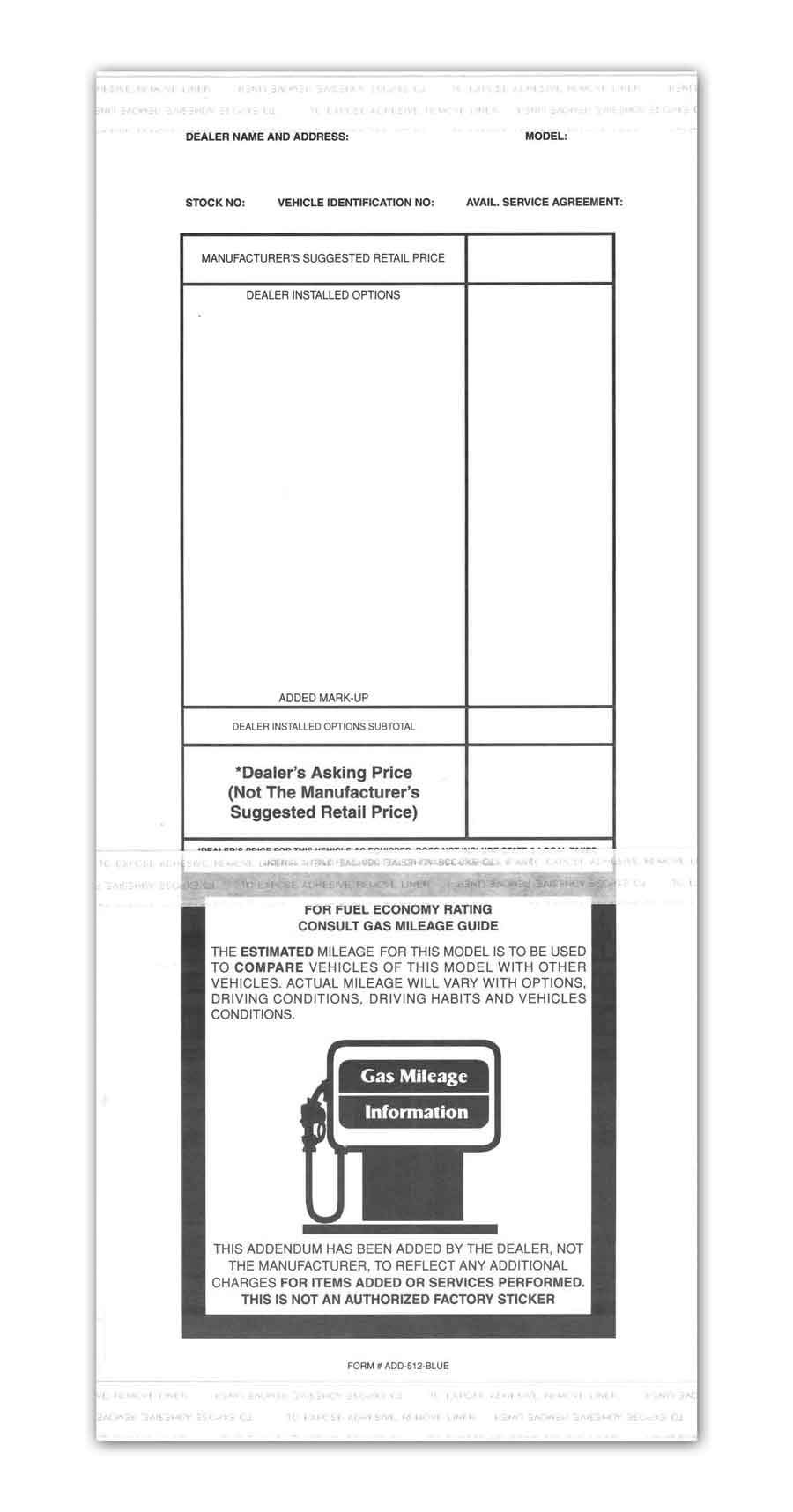 Adhesive 250 per Pack 3.125 inches x 11 inches Donkey Auto Products Plain White Addendum Window Stickers