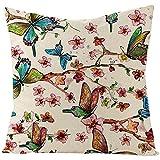 Beydodo Cojines para SofaRama de Flores y Mariposas,Fundas de Cojin de 45 45 para Salón Fundas para Cojin Rosa Verde