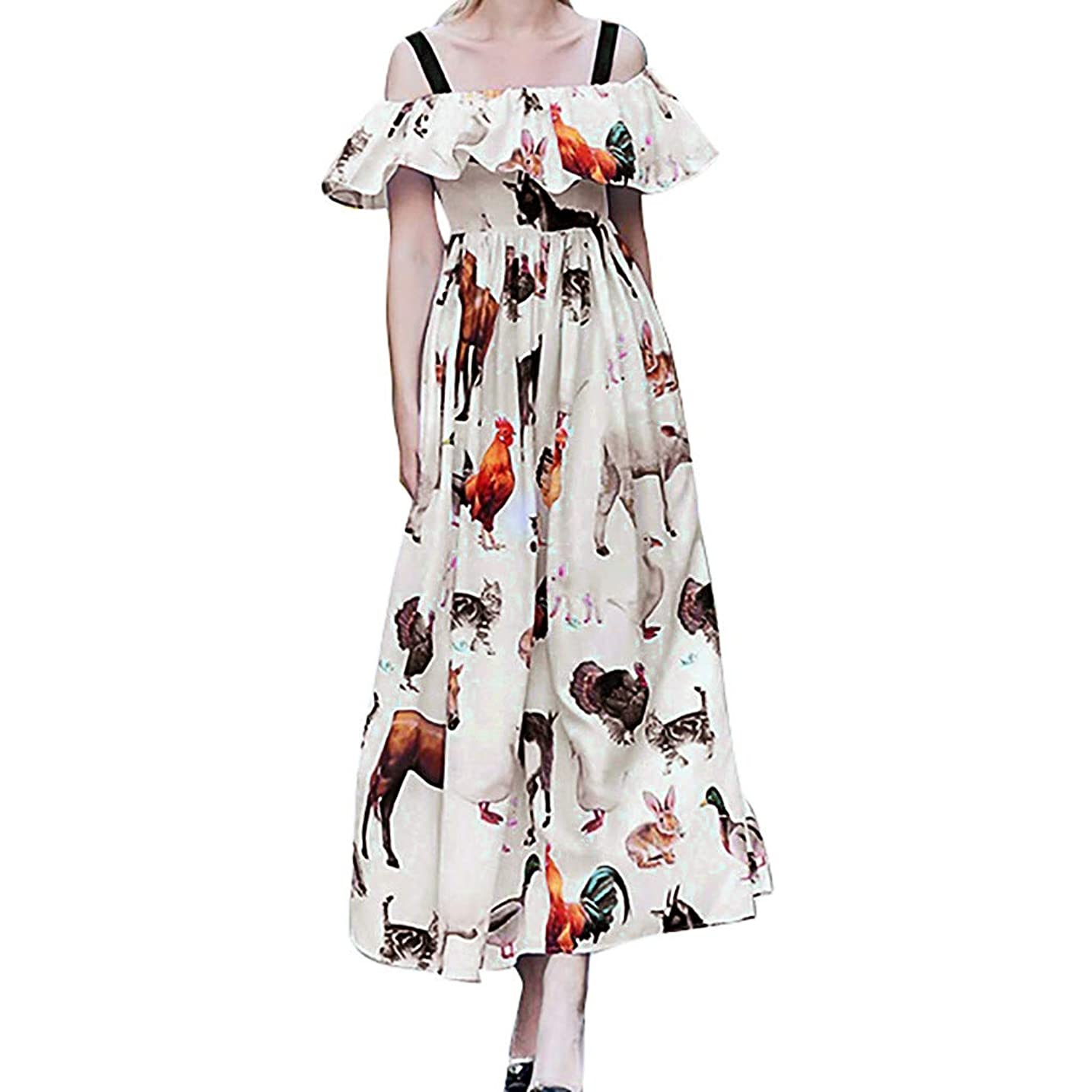 Kawaiine Women Sexy Off Shoulder Sling Patterned Printed Backless Ruffles Party Dress