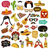 【Quantity】: This set of Fiesta Photo Booth Props comes with 36 pcs party props in assorted Mexican themed designs, 36 pcs wooden dowels and 40 pcs double sided glue dots. They take a little bit to assemble, but are the perfect accent to a fiesta part...