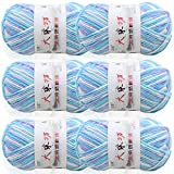 Blanket Yarn Blanket Brights Yarn Baby Blanket Yarn Big Ball Blanket Yarn Blanket Yarn Patterns Super Bulky Large Yarn Skeins Knitting and Crochet Yarn Bulk Acrylic Yarn Skeins (Blue & White)