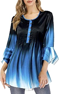 Miracle Womens Floral Gradient Chiffon Tunic V Neck Tops Button Up Casual Flowy T-Shirts Swing Ruffle T-Shirt