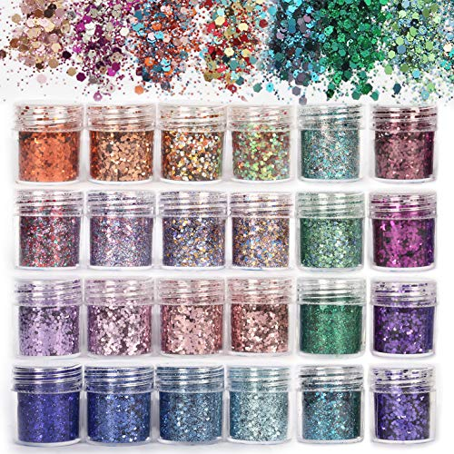 ANDERK Face Glitter Chunky Glitters - 24 dozen Nagels Decoratieve nail art Glitter pailletten Poeder Glanzende nagels Decoratie Make-up Gezicht Lichaamshaar Nagelkunst Decoratie (10ml)