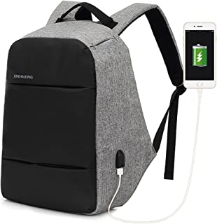 Mochila Hombre 15,6 Pulgadas Mochilas Portátil con Puerto Carga USB y Cremallera Oculta Impermeable Mochila Escolar