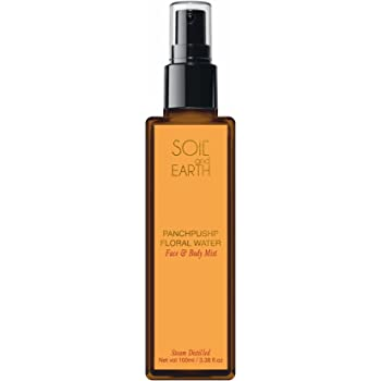 Soil and Earth Pure & Natural Panchpushp Floral water/Skin Toner/Face & Body Mist - 100ml/3.38 fl.oz - Organic - Steam Distilled - Hydrosol - Chemical Free