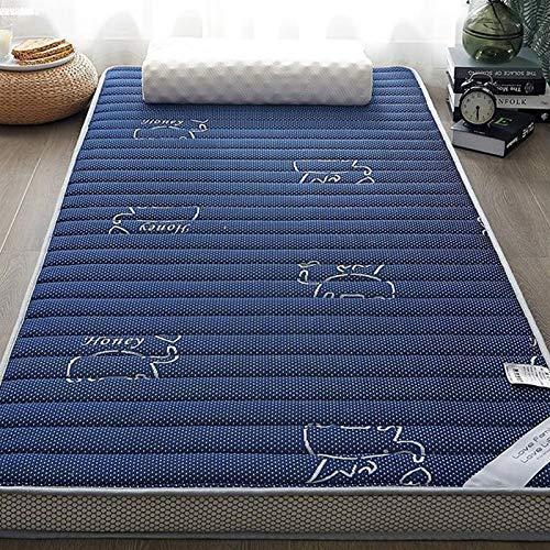 Colchón de Alta Densidad látex y Memoria Espuma de Espuma Plegable Piso Lavable tapete para Dormir Solo sofá Tatami (Color : Azul, Talla : 150x200cm)