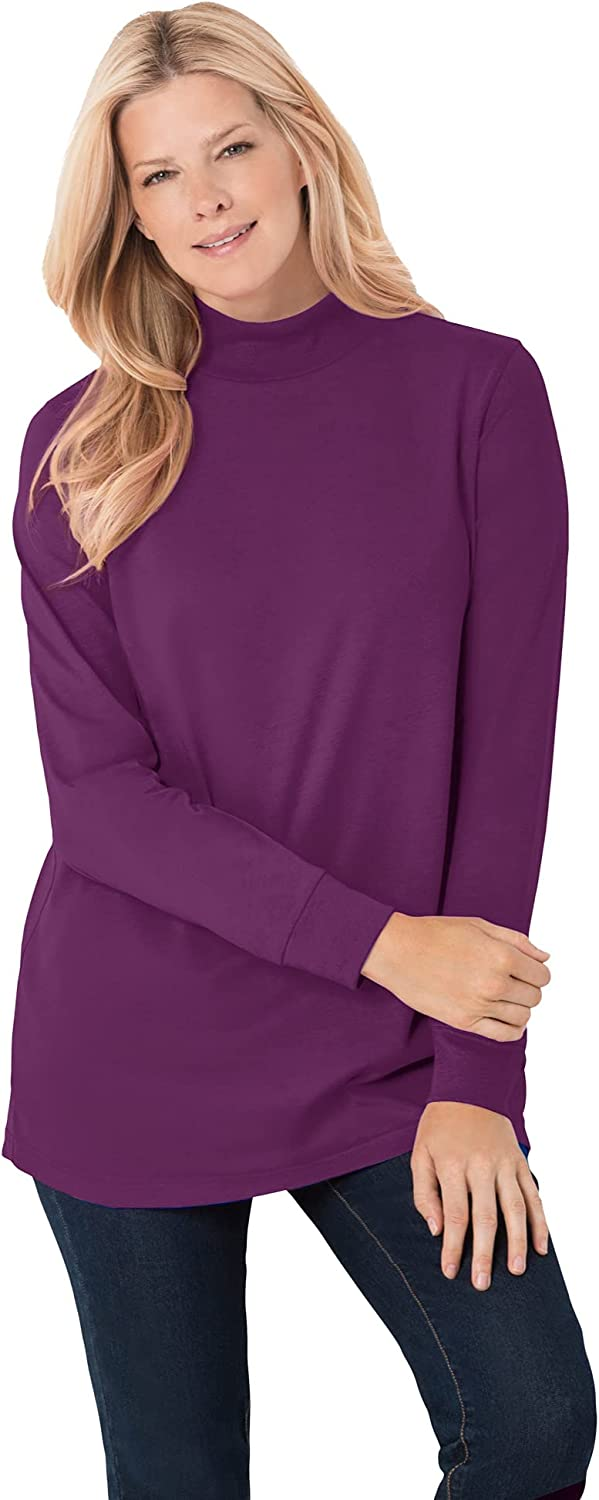 Woman Within Women's Plus Size Perfect Long-Sleeve Mock-Neck Tee Shirt