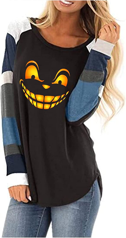 Women's Halloween Sweatshirts Long Sleeve Crewneck Shirts Funny Cute Pumpkin Printed Top Loose Pullover