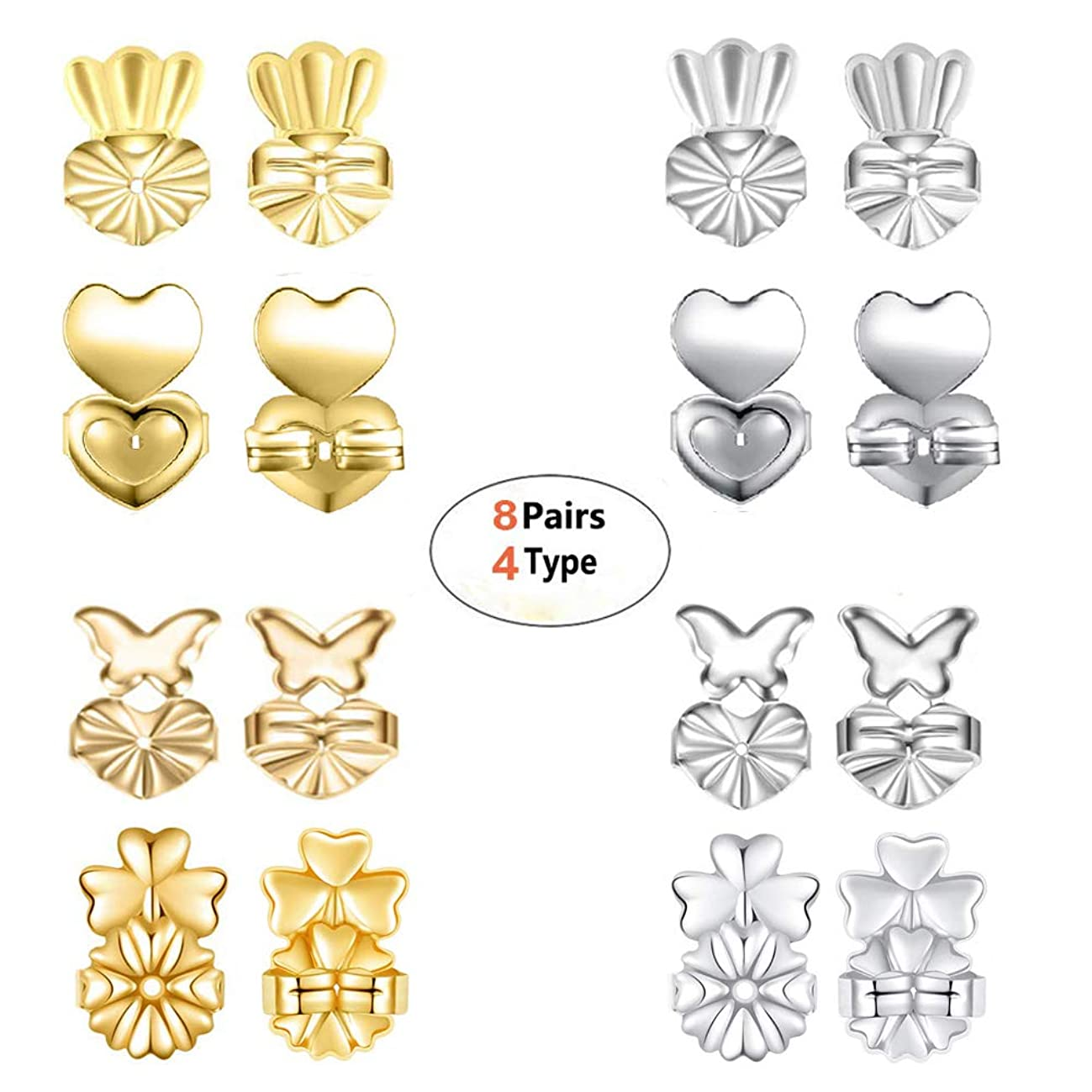Earring Backs - Magic BAX 8 Pairs Earring Backs Set Adjustable Hypoallergenic Safety Locking Stud Earring Lifts Accessories for Women and Girls(4 Silvery, 4 Gold)