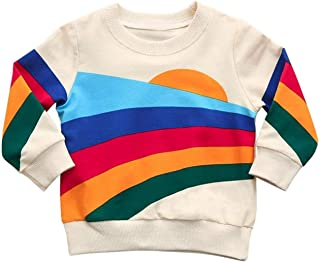 Baby Girls Springtime Soft Rainbow Top Blouse Long Sleeve Toddler Casual Tops