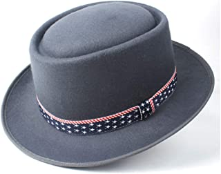 Pork Pie Hat Fedora Trilby Wool+Polyester Pork Pie Hat with Ribbon Wide Brim Hat Men Women Vintage Trilby Hat Casual Wild Hat Size 58CM (Color : Gray, Size : 58)