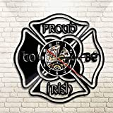 FDGFDG St Patrick's Day Home Decor Wanduhr Stolz darauf, irische Schallplatte Wanduhr Vintage Wanduhr Uhr zu Sein