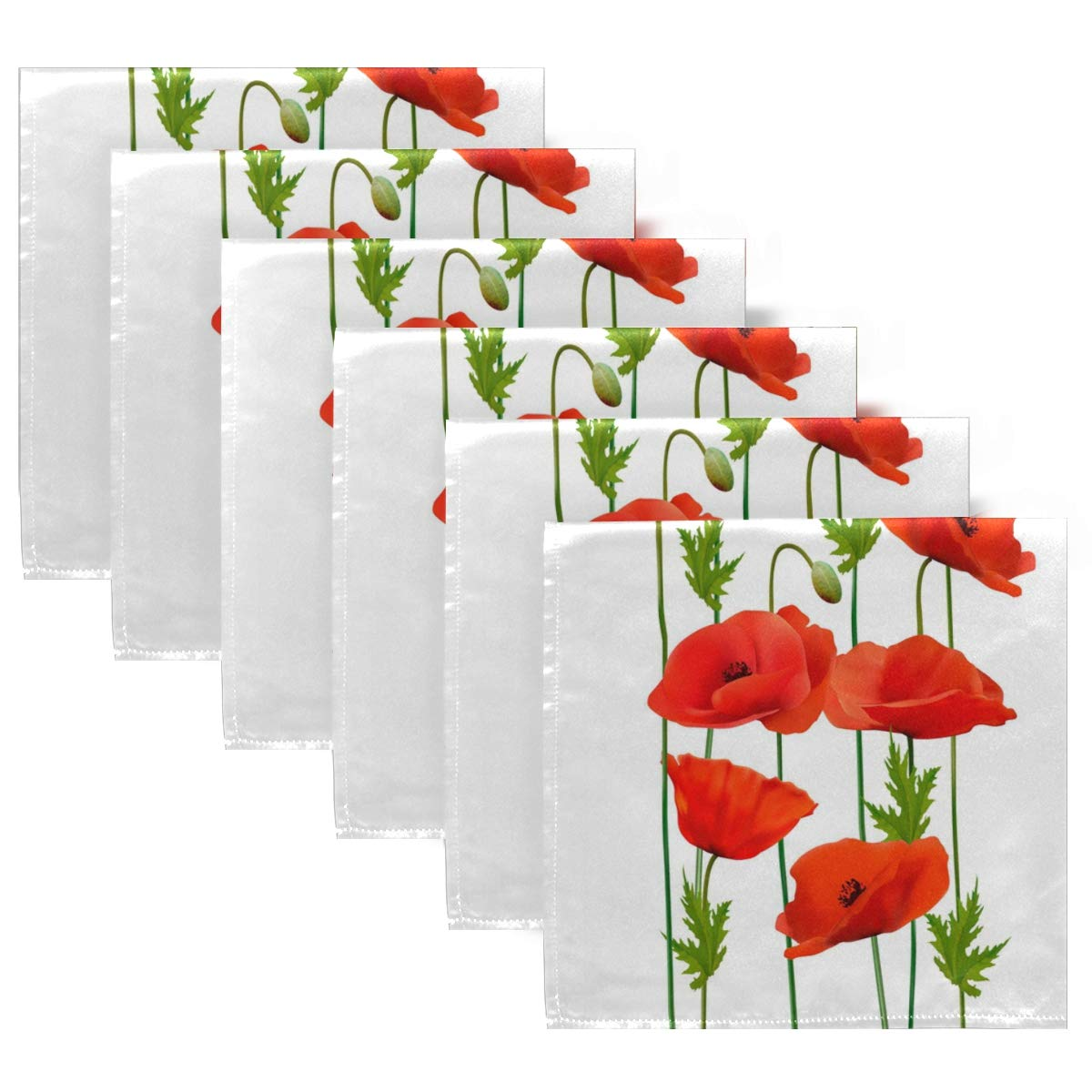 Parties ZzWwR Chic Beautiful Red Poppy Flowers Cloth Napkins Restaurant Weddings Set of 1 20 x 20 Inch Soft /& Comfortable Polyester Dinner Napkin for Family