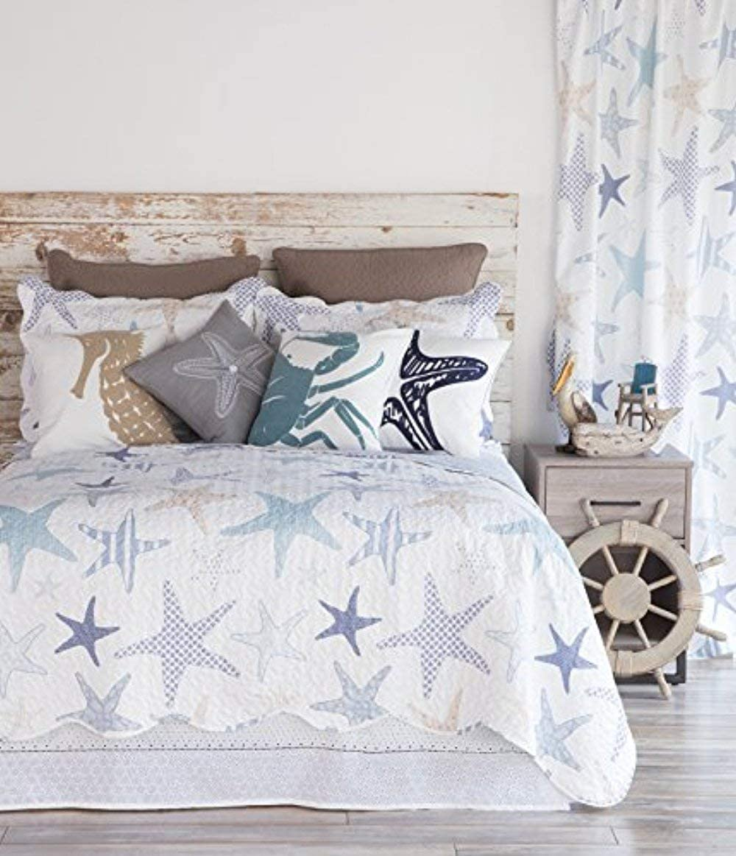 "North End Decor Starfish Reef Coastal Quilt, King 3-Piece Bedding Sets, 110""x96"", White"