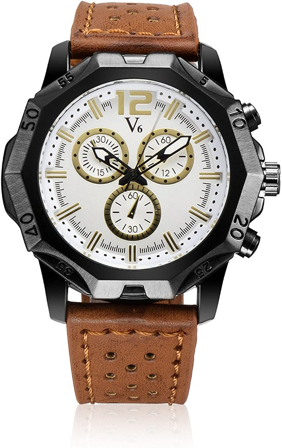 XM Casual upscale men's casual watch fake threeeye double scale market quartz watches , yellow