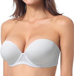 5ce62abead YBCG Push up Strapless Convertible Multiway Thick Padded Underwire  Supportive Bra for Women s Wedding
