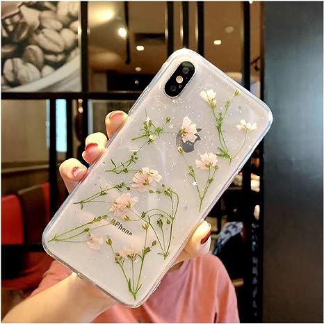 Anenk Coque pour iPhone 7/iPhone 8 Motif fleurs séchées en TPU souple