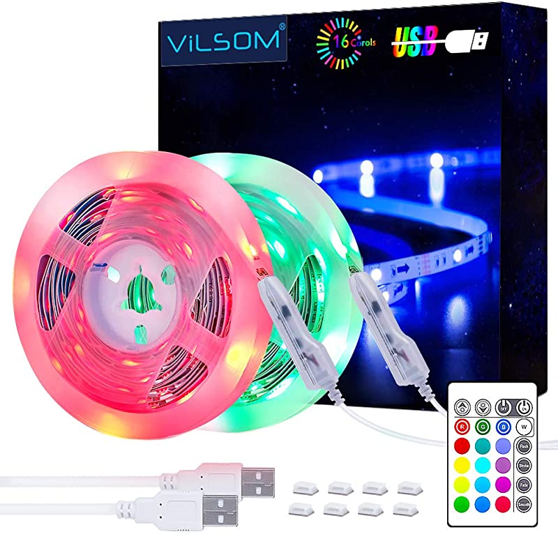 LED Strip Lights ViLSOM 19 7ft USB LED Lights With Remote RGB 5050 Color Changing Rope Lights For 40 100in TV Backlight Bed Room Party DIY Home Decoration