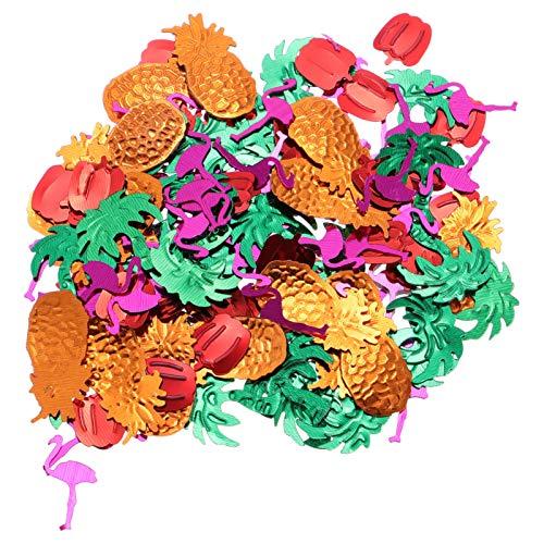 ABOOFAN 5 Paquetes de Centros de Mesa Hawaianos para Fiesta Mesa de Confeti de Plástico Puntos de Confeti Flamenco Piña Cocotero Mesa de Chile Scatters Carnaval Playa Tropical Fiestas