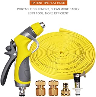 Vetroo 15m / 50ft Lay-Flat TPE Discharge Garden Water Hose Pipe (Copper Alloy) with Heavy Duty High Pressure Nozzle Sprayer (Yellow)