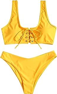 Womens Scoop Neck Lace Up Bikini Set Padded Two Piece Swimsuit Bathing Suit