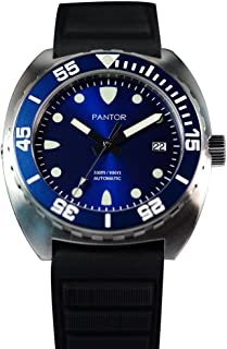 Pantor Sealion 300m Automatic 42mm Pro Dive Watch for Men with Helium Valve Rotating Bezel Sapphire Rubber Strap
