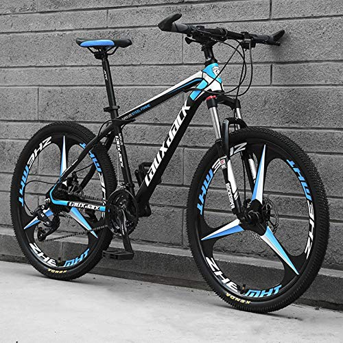 KUKU 24-Speed High-Carbon Steel Mountain Bike, 26-Inch Men's Mountain Bike, Full Suspension, Suitable for Sports And Cycling Enthusiasts,black and blue