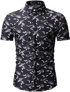 Men's Shirts Shorts Sleeve Button Floral Leaf Allover Print Ultra Soft Beach Party Casual Tees Hawaiian Shirts