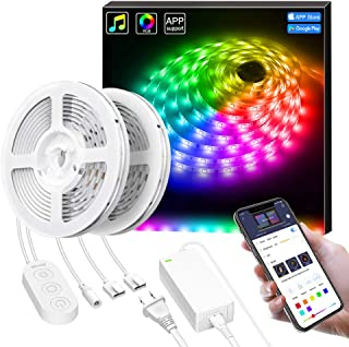 Smart LED Strip Lights, Govee Dream Color Changing Light Strip Music Sync with Brighter 5050 LEDs and Strong Adhesive Tape, Works with Controller and Phone App Waterproof for Indoor Outdoor, 32.8ft