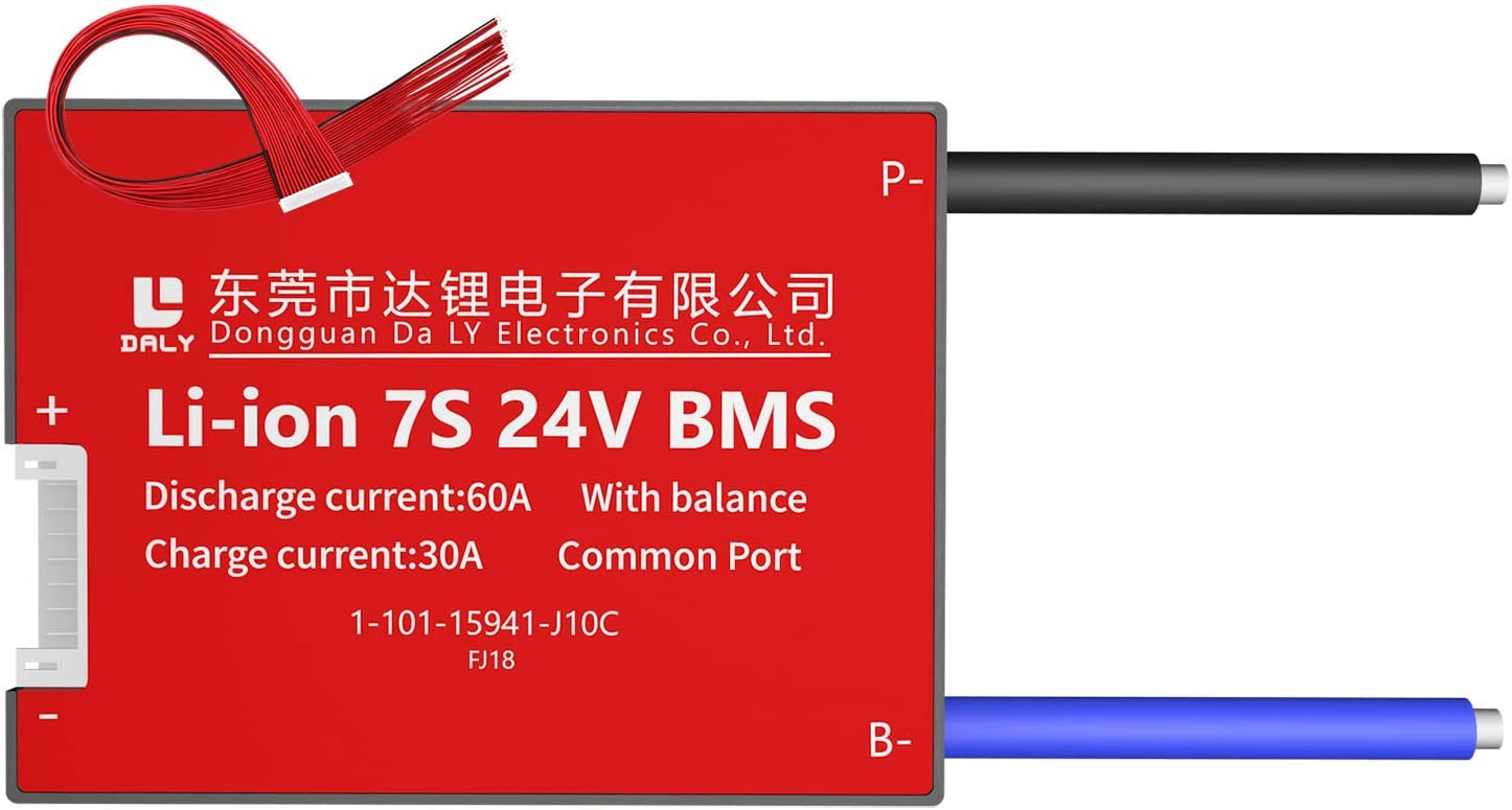 DALY BMS 7S 24V 60A Li-ion Battery Charging Discharge Controller Protection Module PCB Protection Board with Balance Leads Wires BMS for 18650 Battery Pack 24V