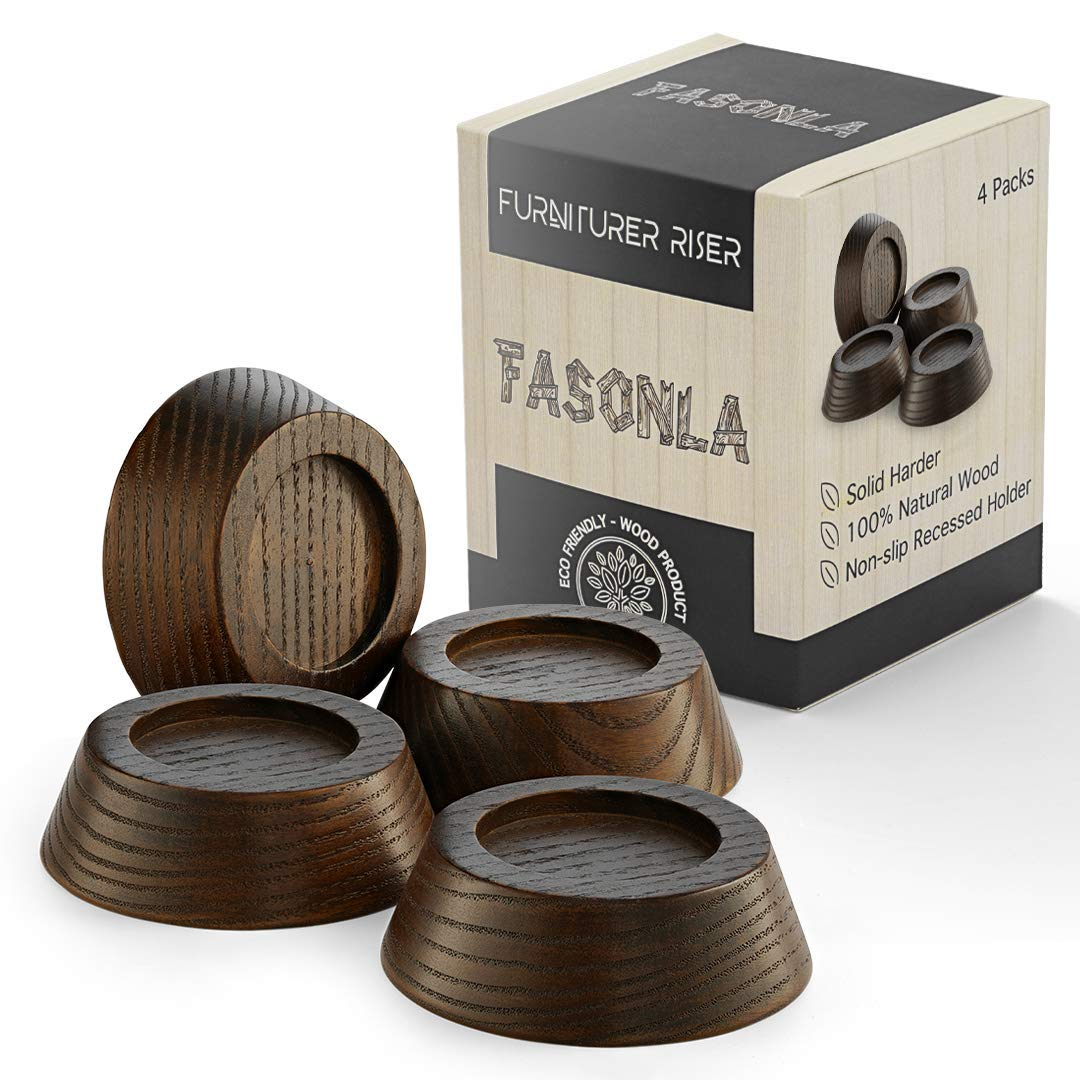 FASONLA Furniture Risers, Solid Natural Wood Risers for 7 Bed Risers,  Furniture Risers, Table Risers, Sofa/Chair Risers- Add Height with Non-Slip
