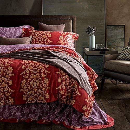 Ericcay 80 Baumwolle Satin Holomorphic Vier Casual Chic Sätze Von Hochwertigen Geschliffen Betten,Rotwein,1,5 M (5 Ft). (Color : Colour, Size : Size)