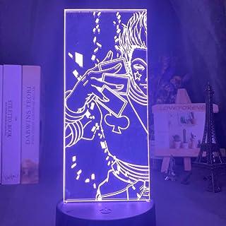 Hisoka Kids Night Light Led 7 Color Child Bedside Nightlight Anime Hunter X Hunter Home Decoration 3D Lamp (Black with Rem...
