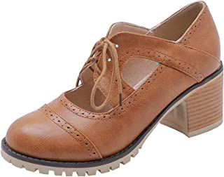 BalaMasa Womens APL12116 Leather Block Heels