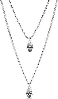 Men's Oxidized Skull Head Pendant Double Strand Chain...