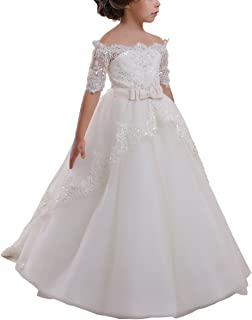Elegant Flower Girl Lace Beading First Communion Dress 2-12 Years Old All Ivory Size 8