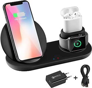 Wonsidary Cargador Inalámbrico para iPhone iWatch AirPods, 3 en 1 Soporte Cargador Rápida Qi Estación de Carga para iWatch Series 3/2/1, iPhone XS/XR/8, Samsung S10/S9/Note 8 & Dispositivos con Qi