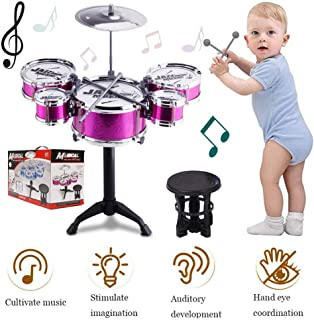 SKLOER Kids Drum Set-Educational Percussion Instrument Kids Toy Stimulating Children's Creativity-Jazz Drum Set Ideal Gift for Kids,Boys and Girls - Purple