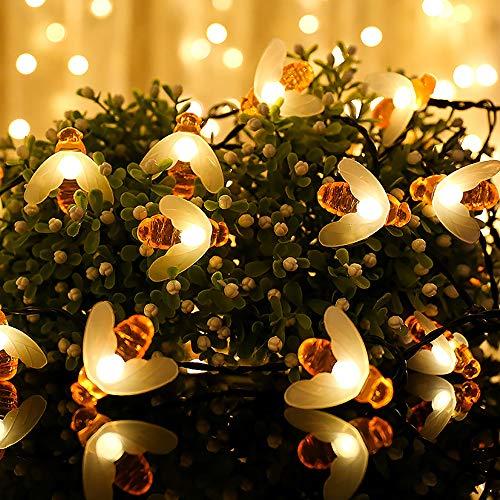 Guirnaldas de Luces Exterior Solar, Luz de Cadena de Abeja en 12M 100 LED, Impermeable 8 Modos Luces Decorativas con el Sensor Ligero para Jardín, Boda, Fiesta [Clase de eficiencia energética A+]